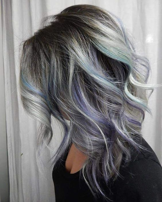 21 grey hair with black lowlights and purple and turquoise highlights - Styleoholic