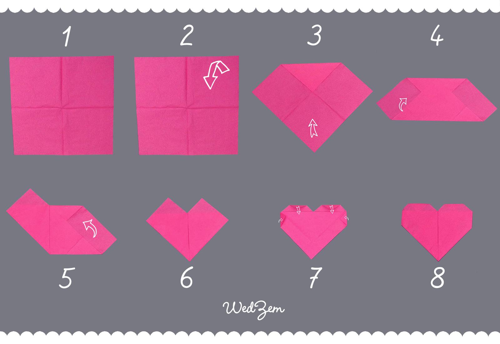 coeur en papier pliage