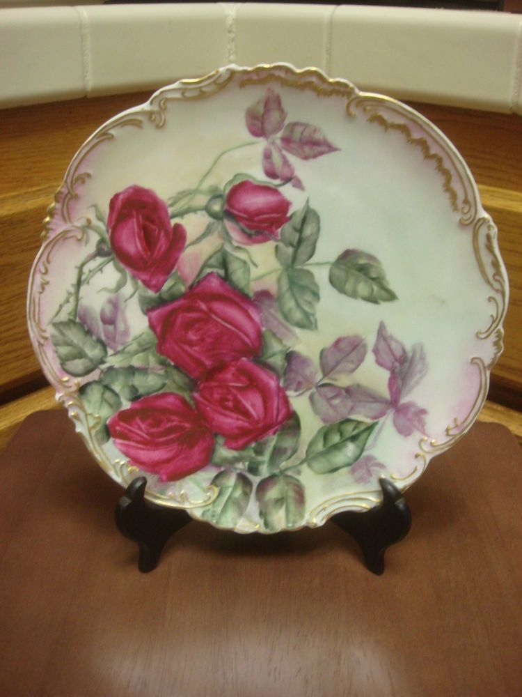 Liza Antique White Panel Bedroom Set: Hand Painted Bawo & Dotter Elite Limoges Roses Charger