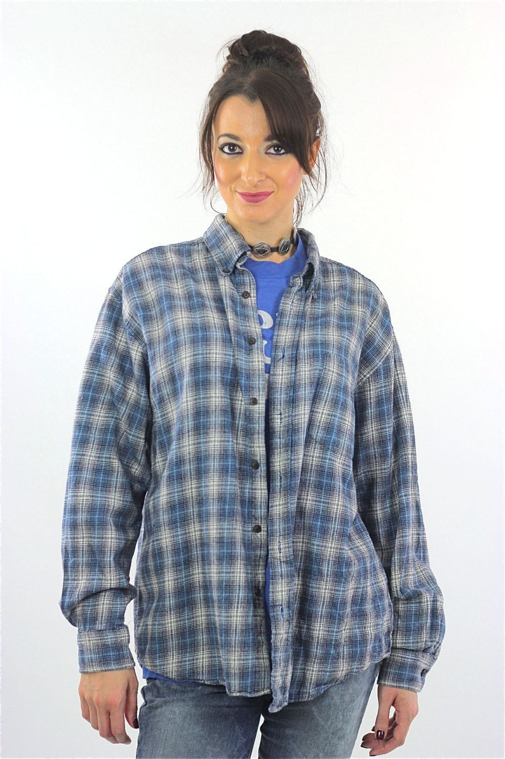 Button up flannel shirts  s Blue flannel shirt Plaid grunge Checkered Button up Large