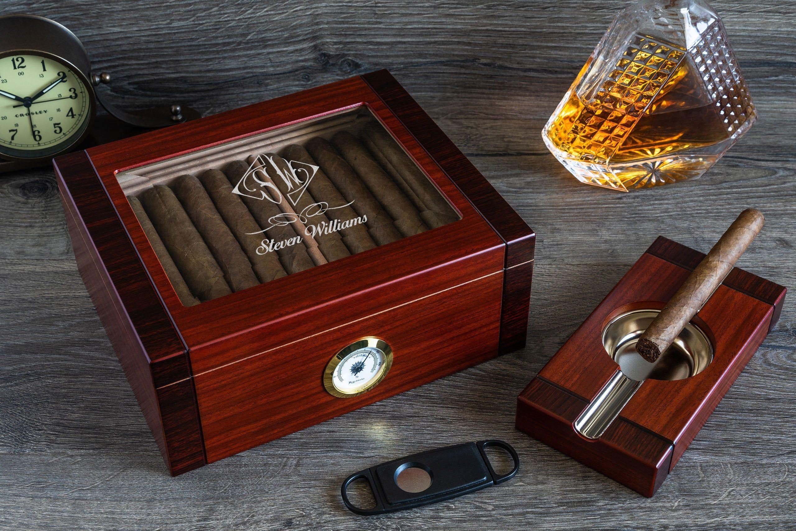Beveled glass top cigar humidor custom engraved humidor