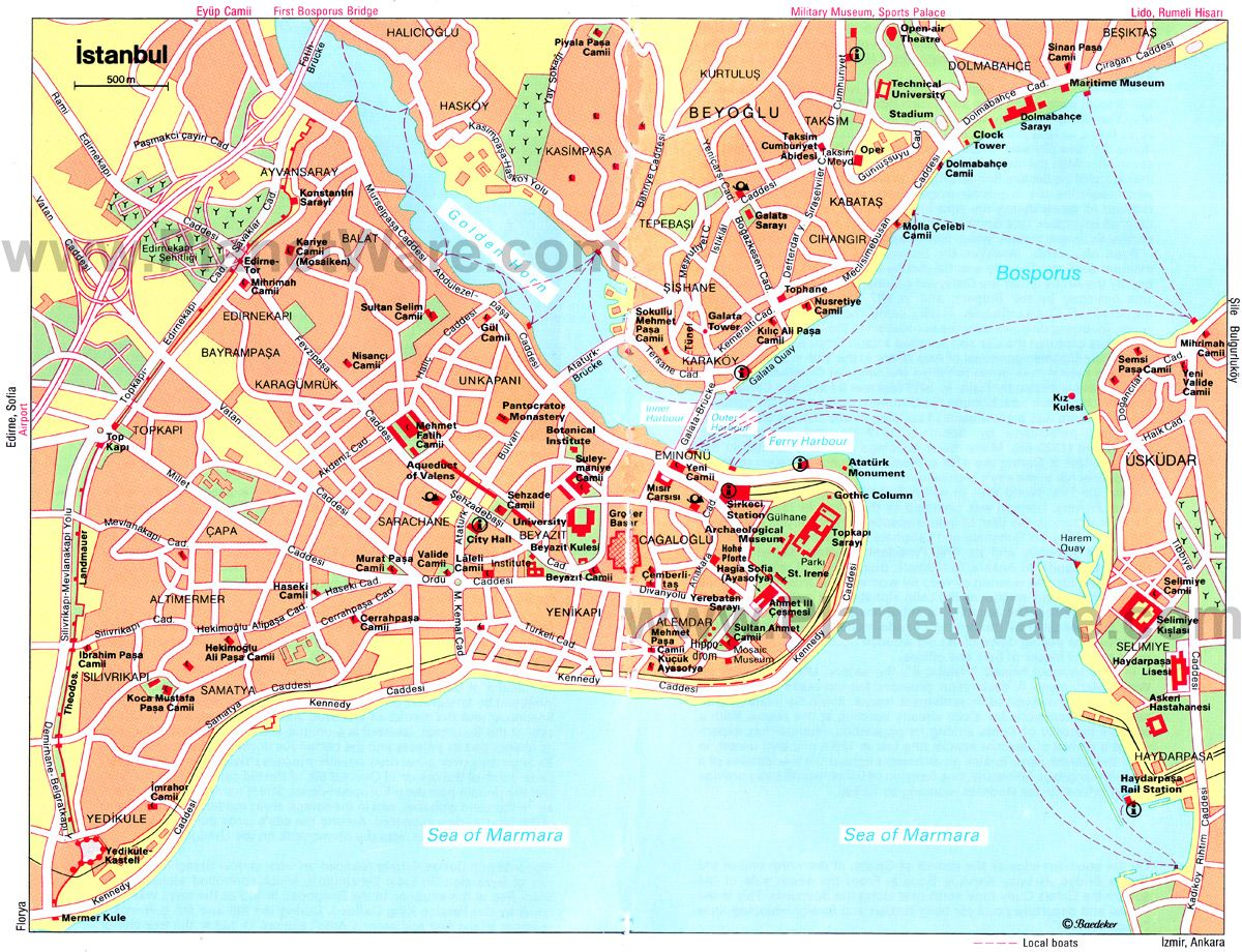 map of istanbul attractions planetware travel guide istanbul