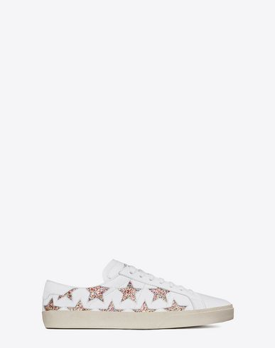 98cb6b5a3d9 SAINT LAURENT Signature Court Classic Sl 06 California Sneaker In Off White  Leather And Multicolor Glitter.  saintlaurent  shoes