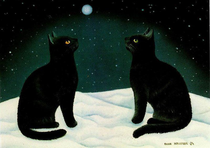 картинка двух черных кошек сторона