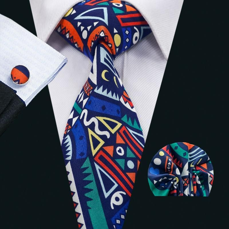 New Arrival Men S Cotton Tie Design Necktie Gravata Hanky Cufflinks Sets For Party Wedding