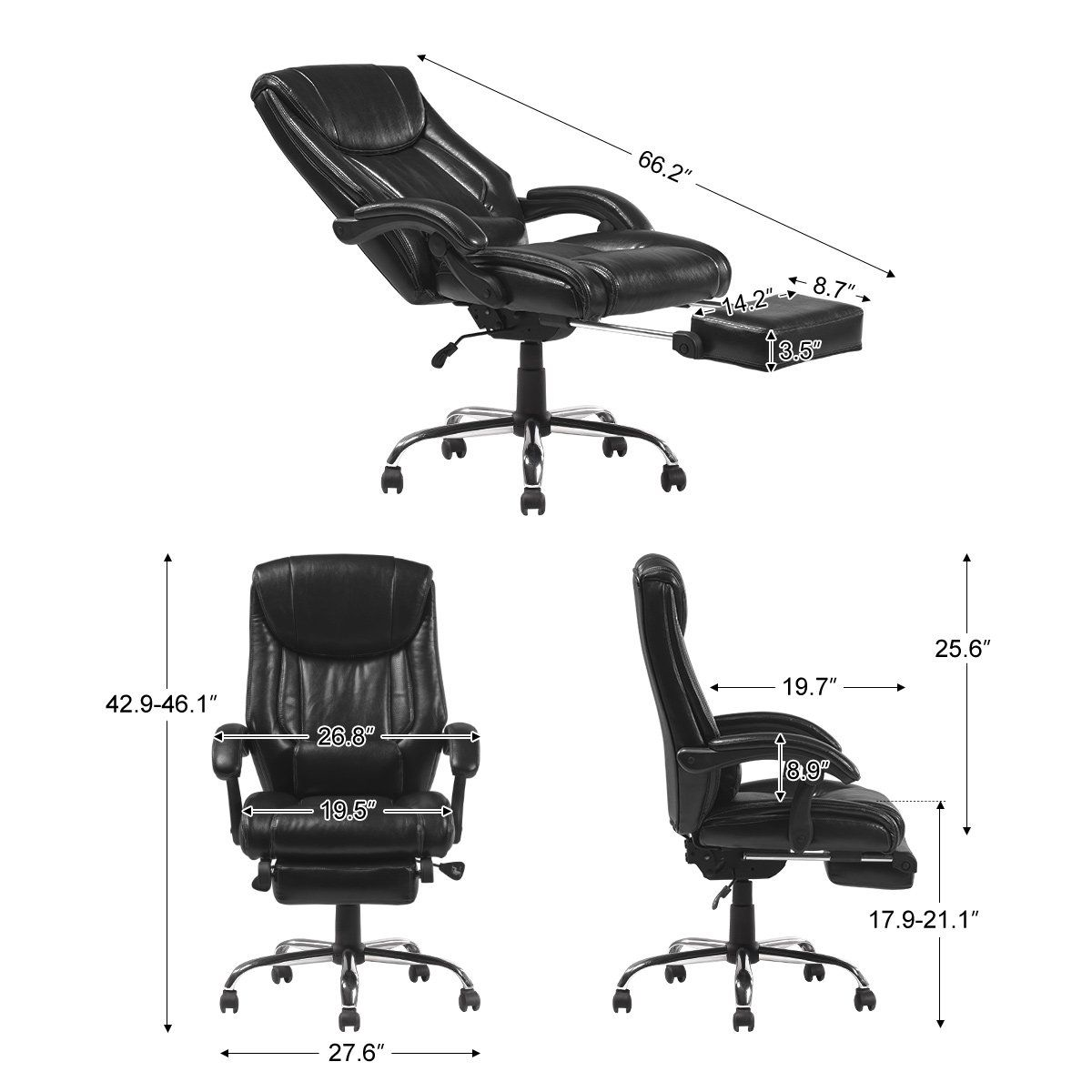 Yamasoro Reclining Office Chair High Back Ergonomic Design Computer Napping Chair Leather With Foo Leather Chair Reclining Office Chair Executive Office Chairs