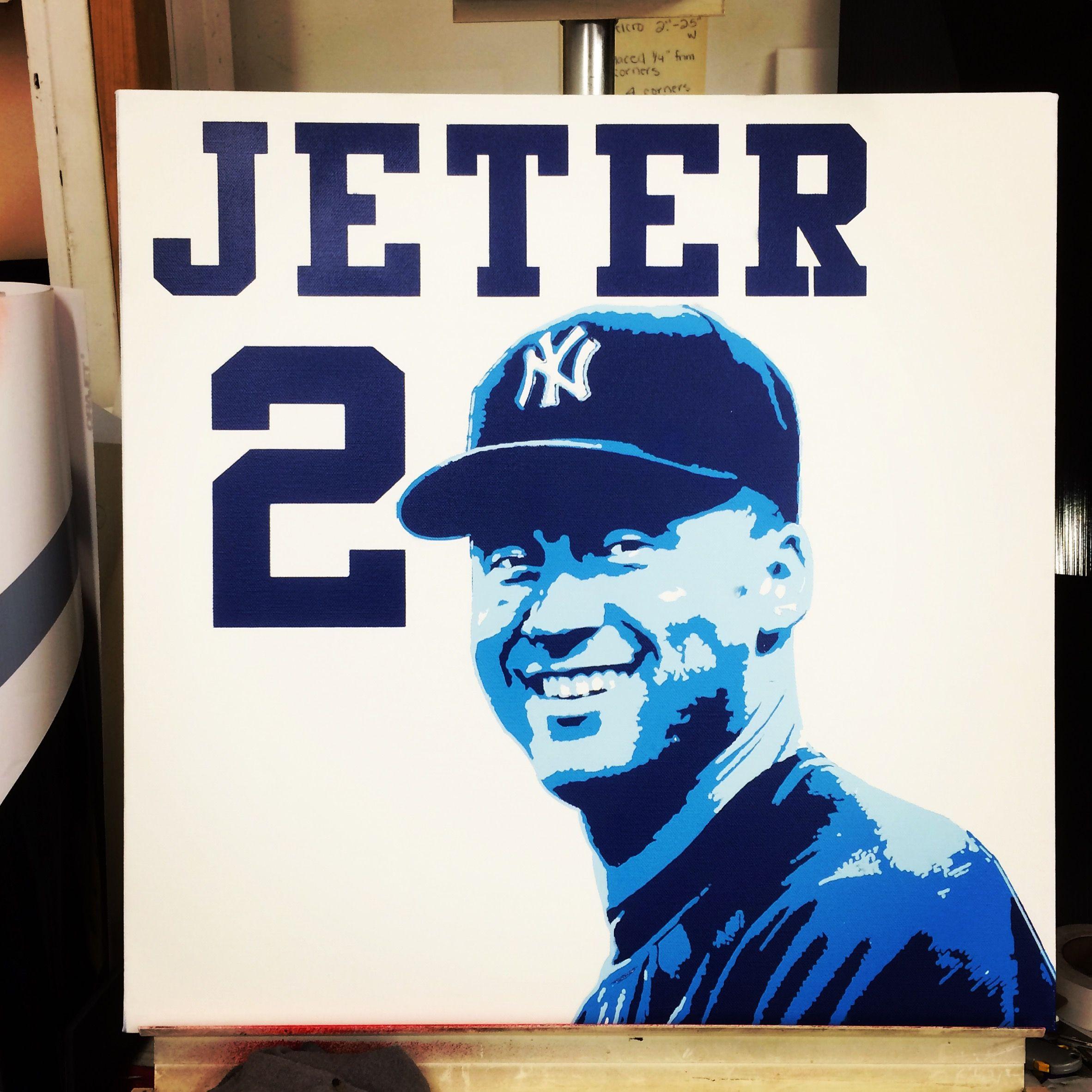 Color sheets derek jeter - Derek Jeter New York Yankees 24 X 24 Acrylic Spray Paint On Stretched