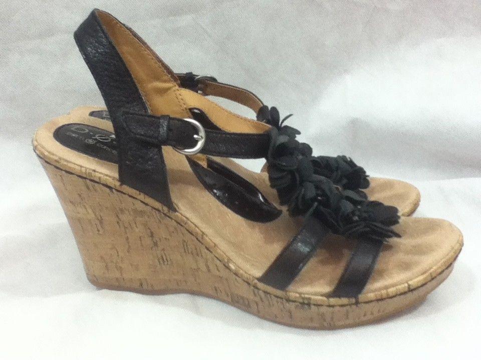 098894c1a1 BOC Born Concept Sz 11 M W Black Flower Platform Cork Wedge Sandals Heels  Shoes