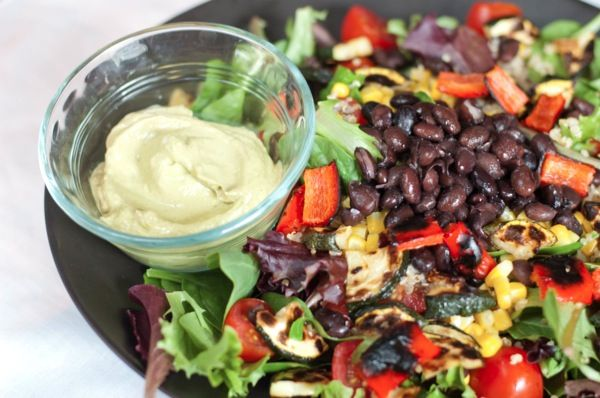 fiesta salad with creamy, smoky vegan avocado dressing