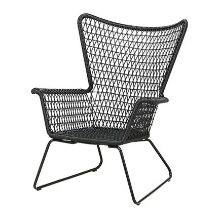 Ikea Mid Century Modern Woven Black Outdoor Lounge Armchair