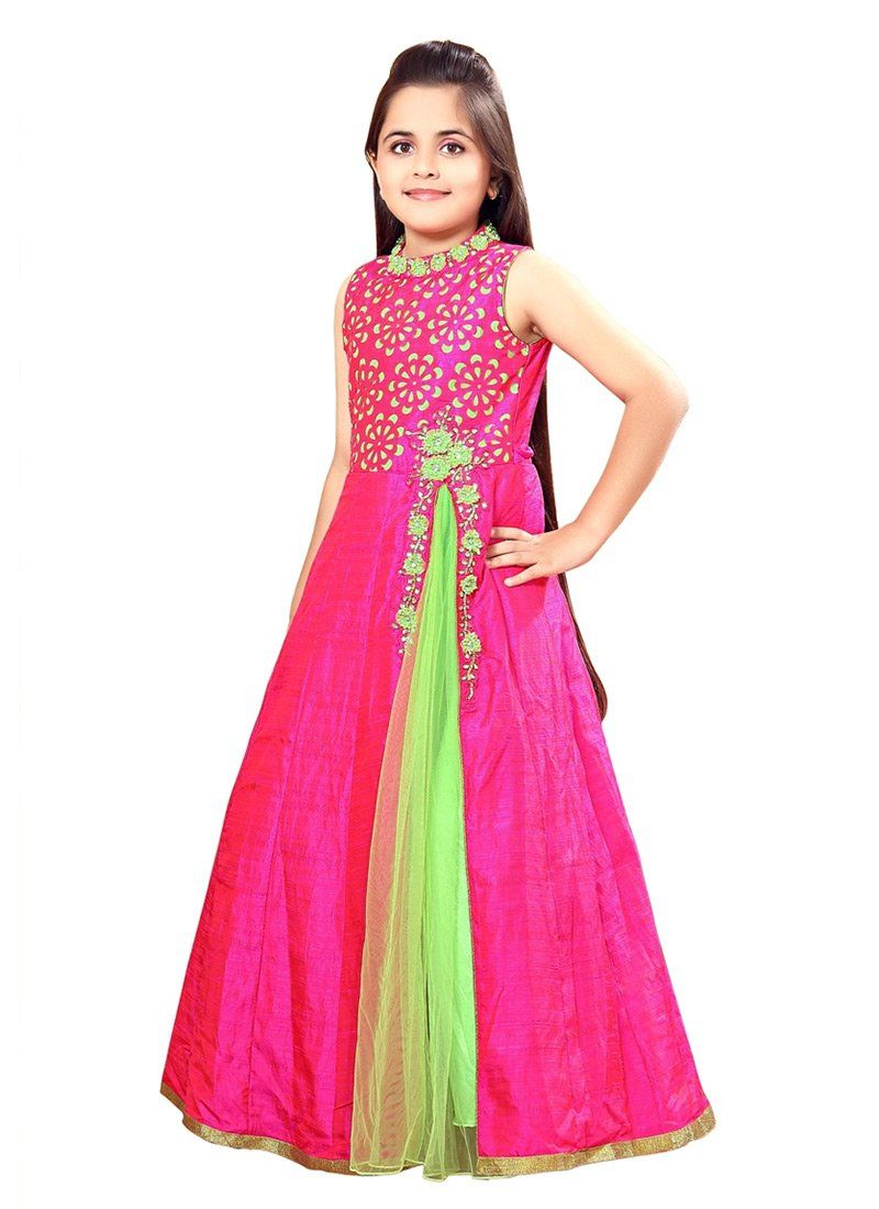 672748249146 Buy Rani Pink Art Silk N Net Kids Anarkali Gown online from the wide  collection of girls-gown. This Pink colored girls-gown in Net | Art Silk  fabric goes ...