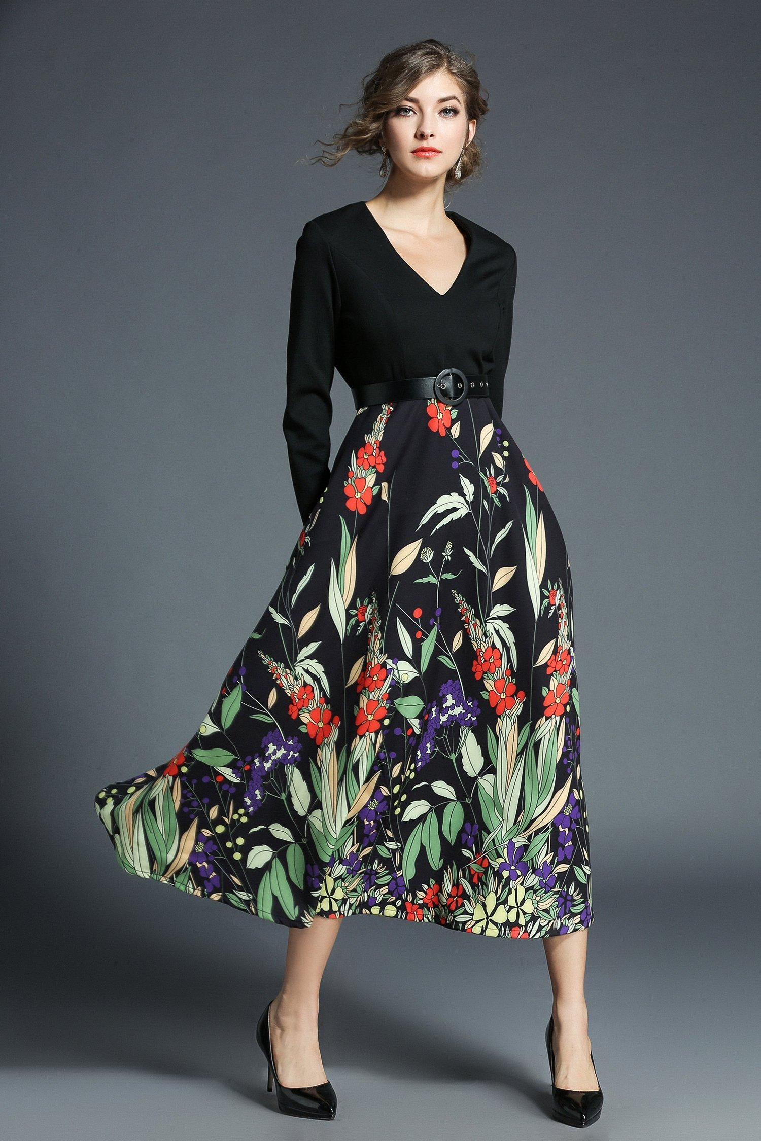 Evening aline vneck long sleeve floral maxi dress products