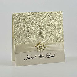 Embossed Pocket Invitation To Make Yourself Cream Wedding With Pearl Flower