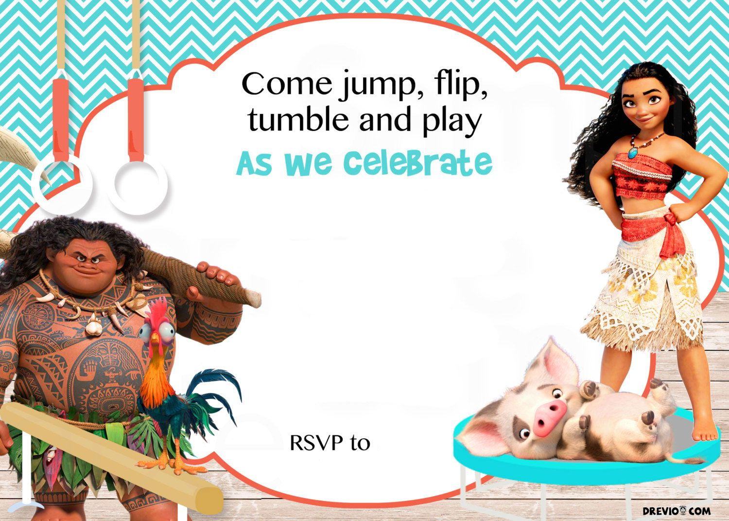 Free Moana Birthday Invitation Template Drevio Invitations