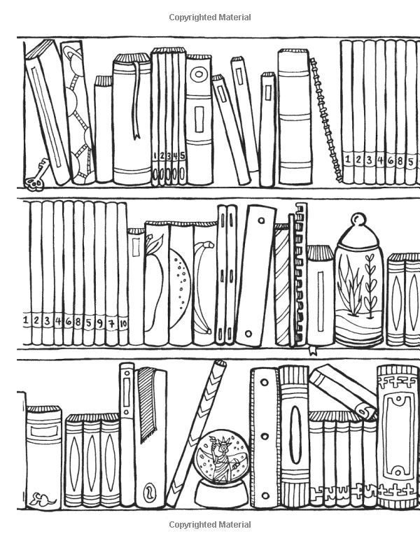 Off The Bookshelf Coloring Book 45 Weirdly Wonderful Designs To Color For Fun Relaxation Coloring Art Coloring Pages Coloring Books Coloring Book Pages