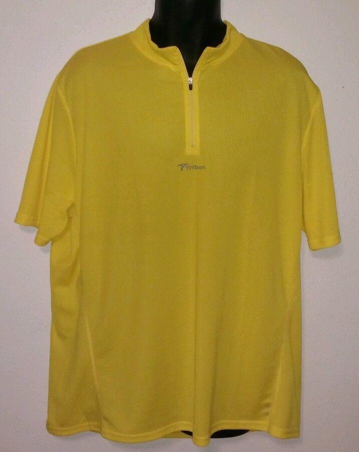 Mens Decathlon Triban Yellow Btwin Cycling Bicycle Bike Jersey Shirt Size  XL  Decathlon ce5a04119
