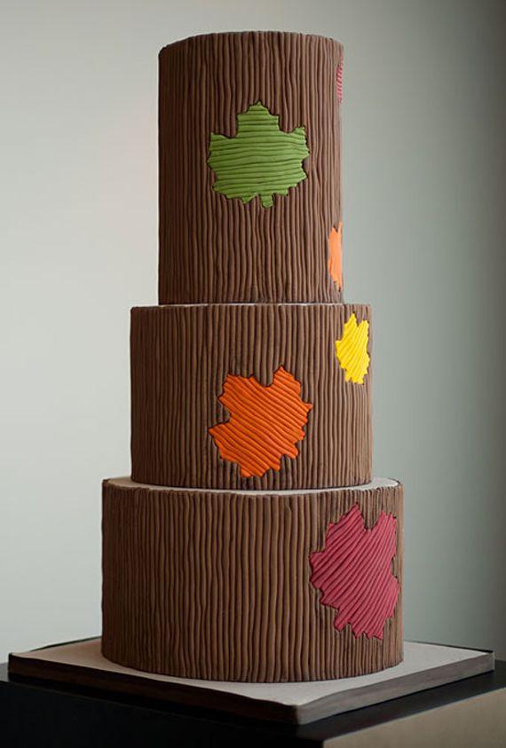 Falling Leaf Fondant of Fall Wedding Cake Designs