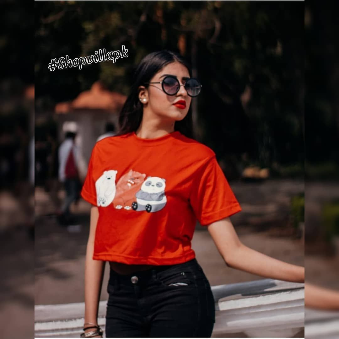 Red 3 Bears Printed Cropped T Shirt For Her Material