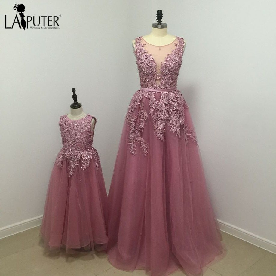 7a0e2017cef4 New Real A-line Floor Length Long Evening Dress Beaded Lace Appliques Tulle  Prom Gowns Party Dresses for Mother and Daughter