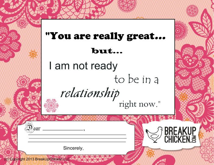 "Not Ready For Relationship"" Customizable Break Up Letter 