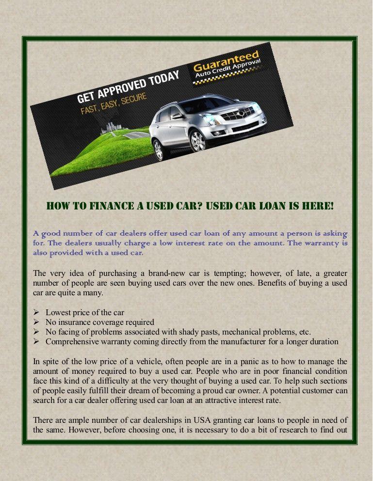 Used Car Loan >> Pin By Guaranteed Autocredit On Used Car Loan Car Loans