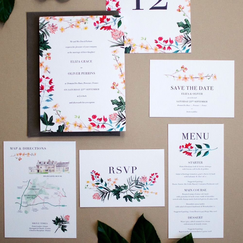 hollyhocklane/shop - Mediterranean Botanical Invite, from £2.00 per ...