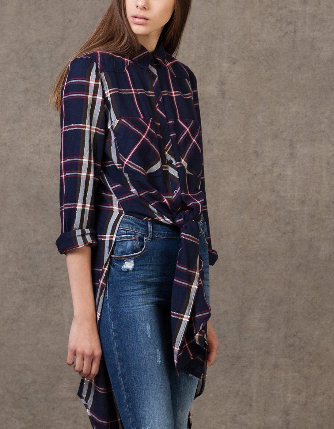 0f941f543b75 Camisa larga de cuadros | Moda | Camisas largas, Camisa de cuadros y ...