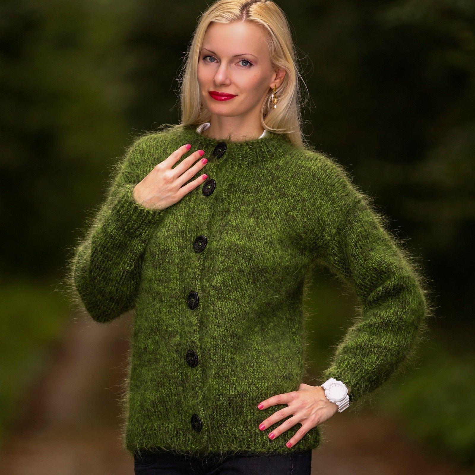 GREEN Hand Knitted Mohair Sweater Fuzzy Crewneck Handmade Cardigan ...