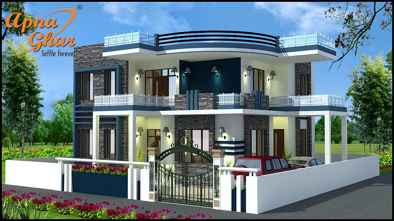 4 bedroom duplex house design in 210m2 14m x 15m click for Free indian duplex house plans