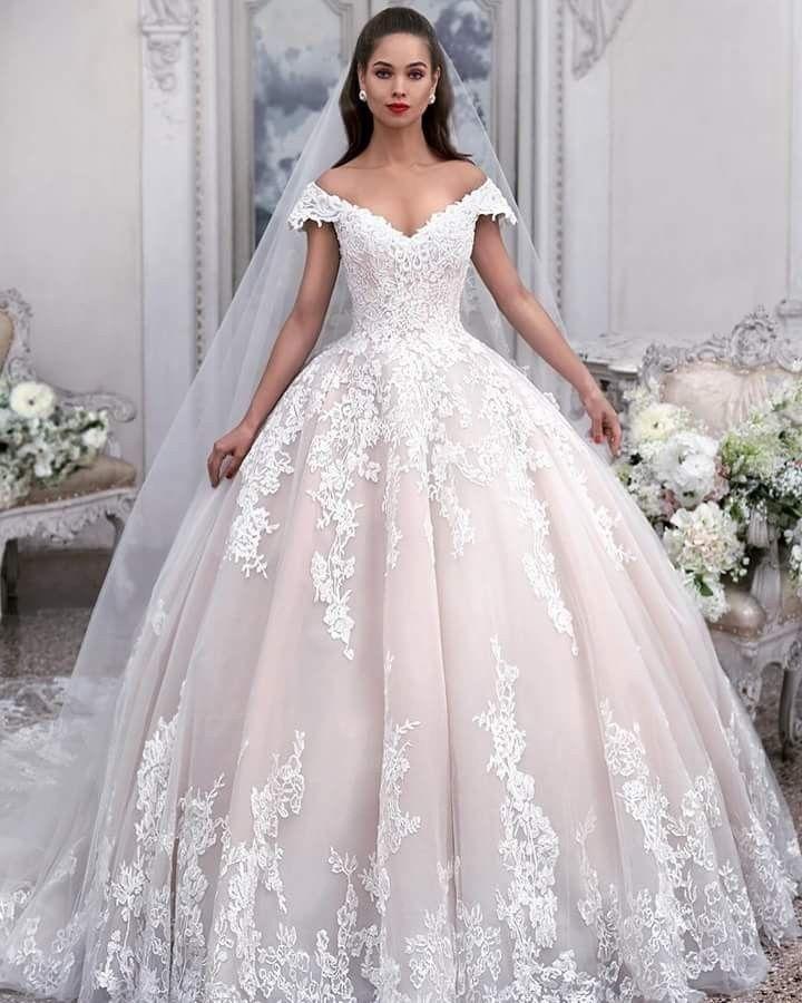 Light pink off shoulder lace applique wedding dresses a