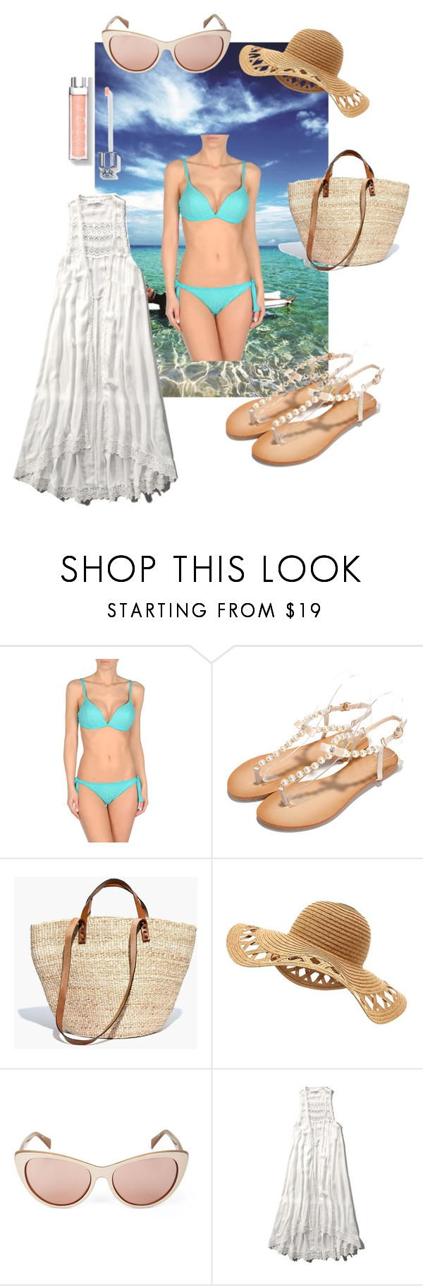 """""""8. Monte Carlo Beach Club"""" by kristina-lindstrom ❤ liked on Polyvore featuring Le Specs, FISICO Cristina Ferrari, Madewell, BCBGMAXAZRIA and Abercrombie & Fitch"""
