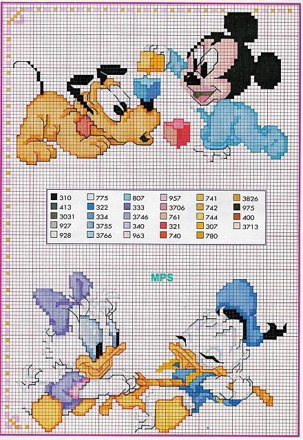 Schema Baby Pluto Topolino Paperino Paperina Disney Cross Stitch