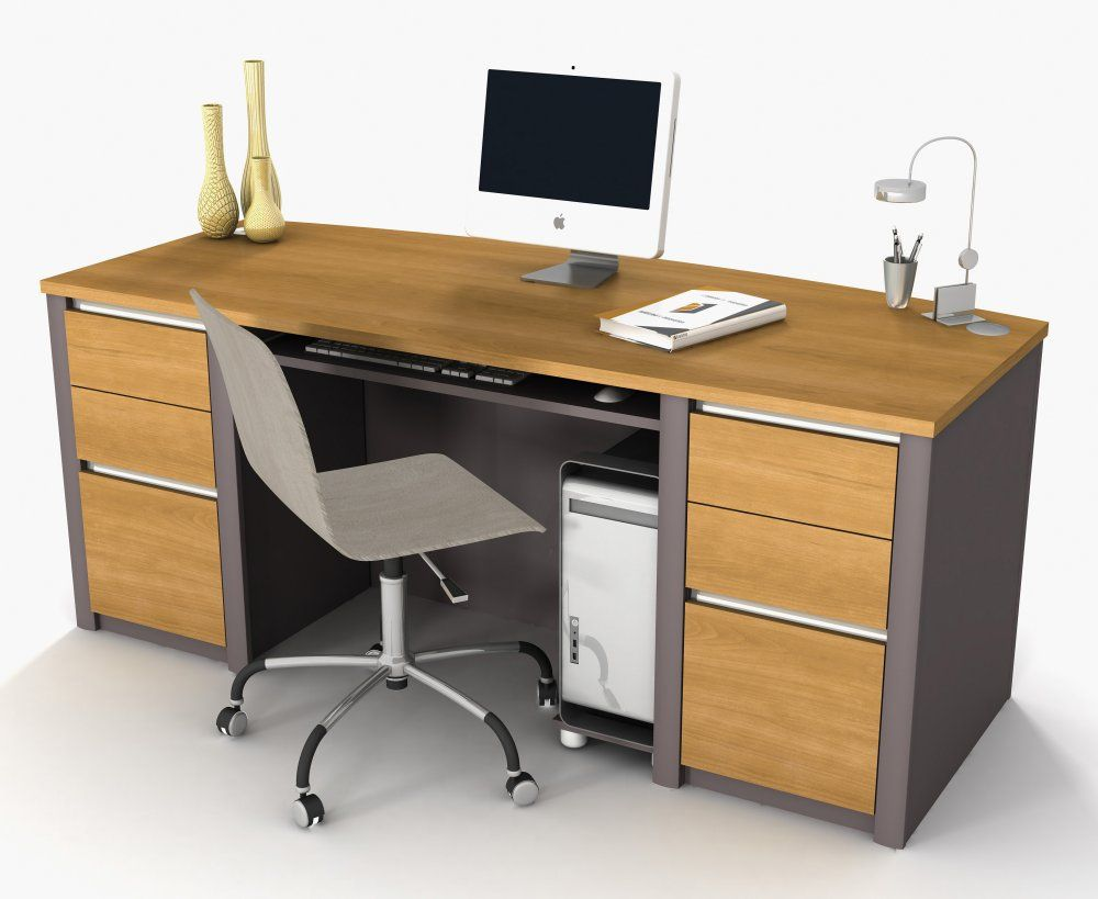 Office Desk Design furniture. natural wooden color office desk design featuring