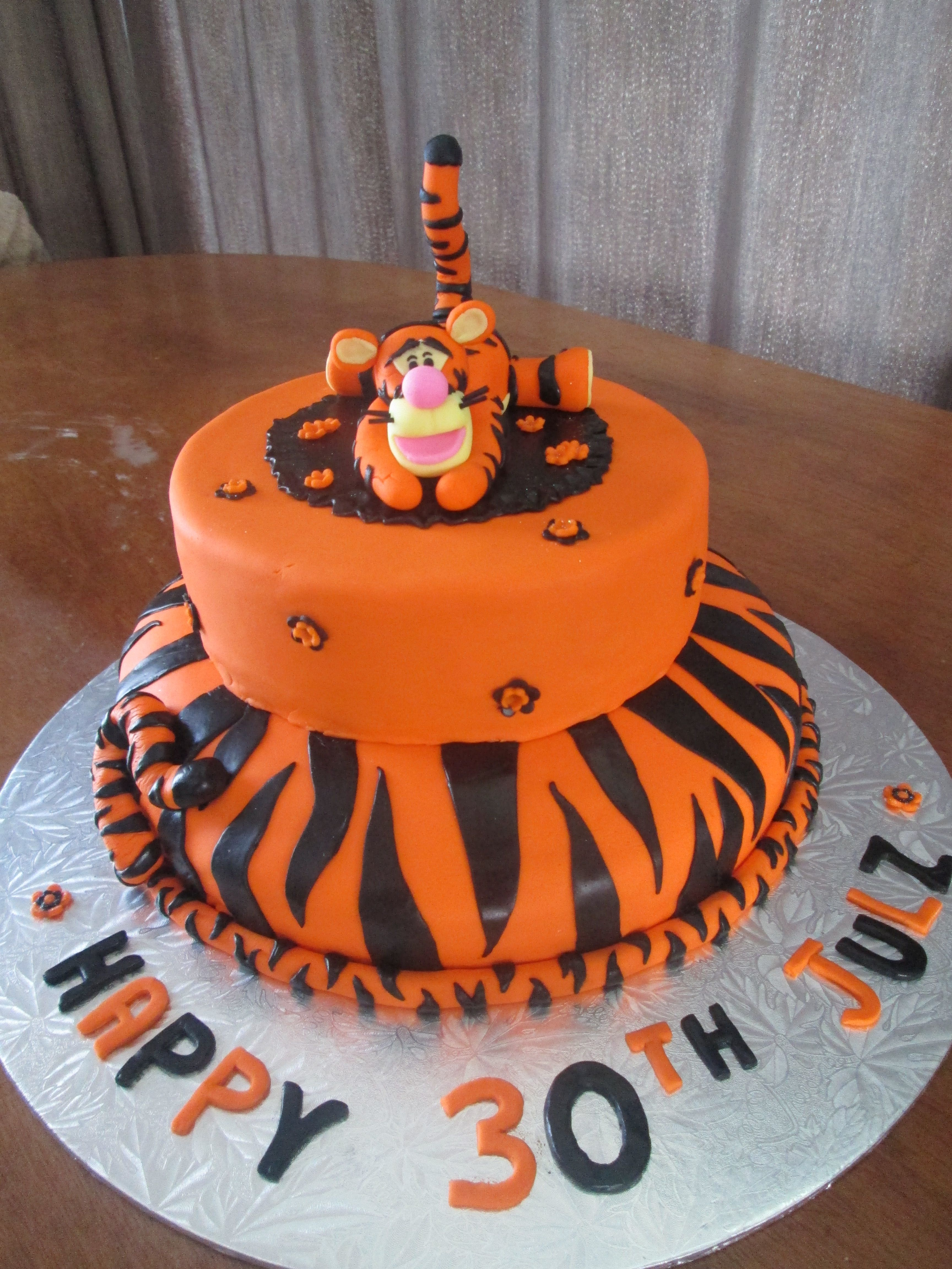 Tigger cake made with fondant for a 30th birthday