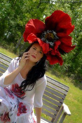 Giant flower headdress Red POPPY hat fascinator headpiece poppies DERBY hat 2cb94b4da5f