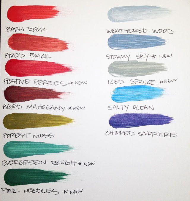 Winter Distress Paint Color Comparison Chart