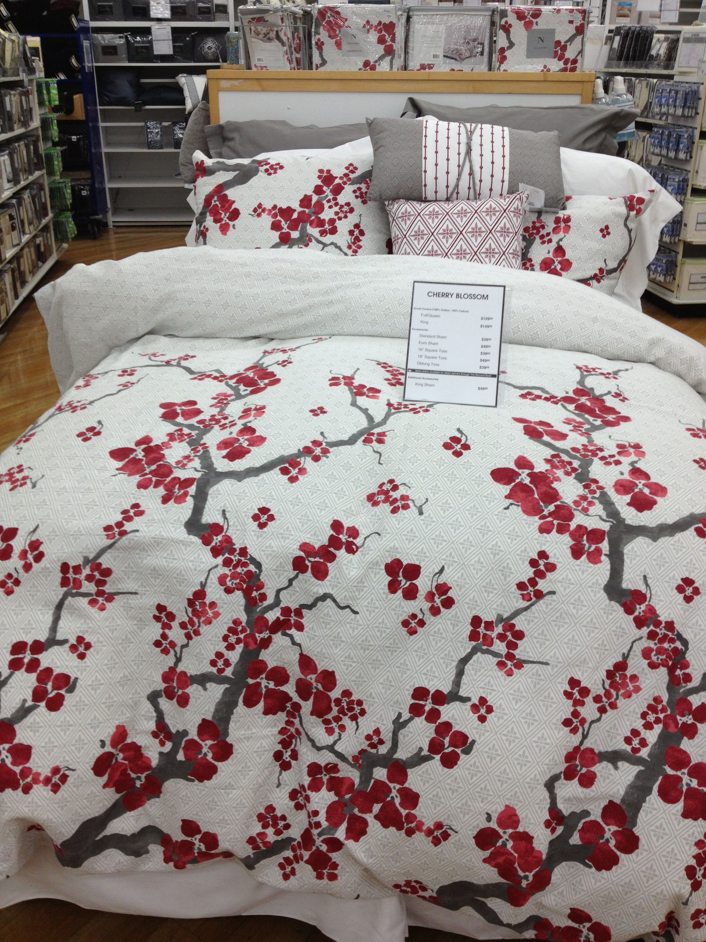 Cherry Blossom Duvet/Comforter Set by N Natori in white, red grey as seen  here at Bed Bath Beyond. 'Want sooooooo badly.