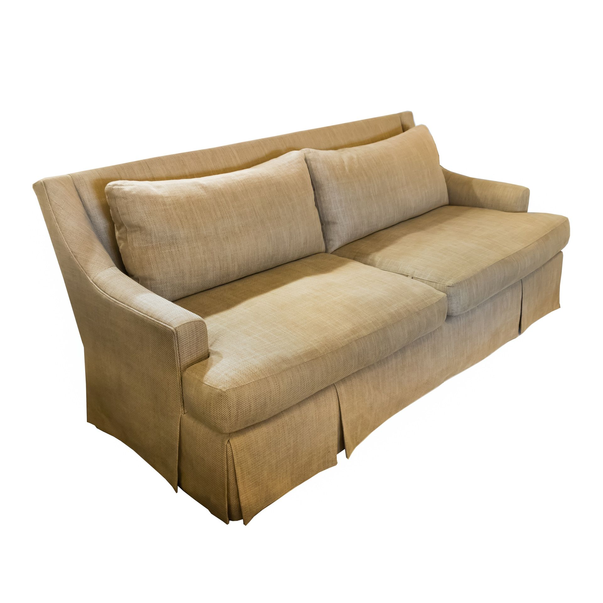 Elegant Yet Plush This Gold Linen Sofa By Baker Furniture Has Sloping Arms A