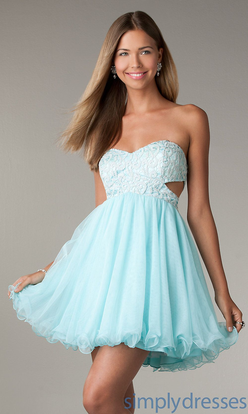 Tween dresses strapless long | Short Strapless Prom Dress with Cut ...