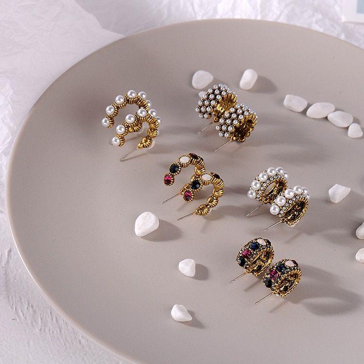Stud Earrings Korean Japanese Love Heart Red Stud Earrings For Women Rhinestone Alloy Pendientes Earrings Female Fashion Jewelry 2019 Jewelry & Accessories