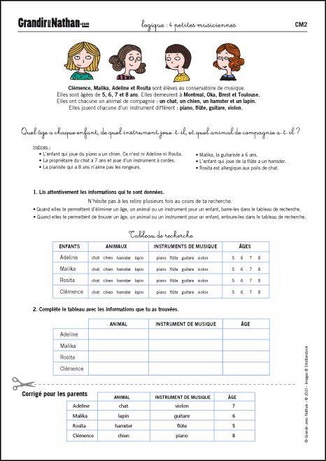 Logique Cm2 4 Petites Musiciennes Exercices Logique Jeux De Logique Education Bienveillante