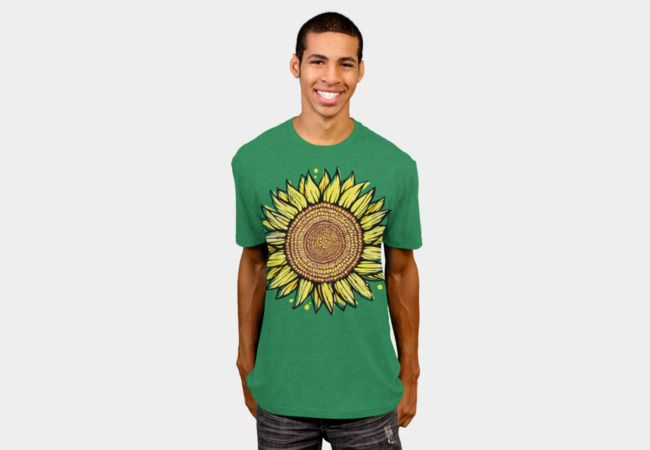 caaa71aba Sunflower Art T-Shirt - Design By Humans. Yellow & brown, mixed media  (watercolor, ink, vector) illustration.