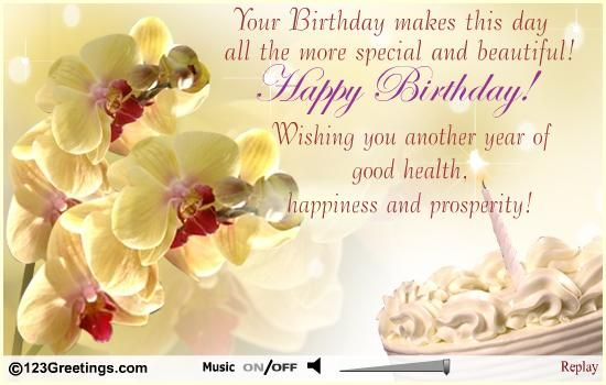 An Elegant Birthday Wish Free Happy Birthday Ecards Birthday Wishes For Health And Happiness