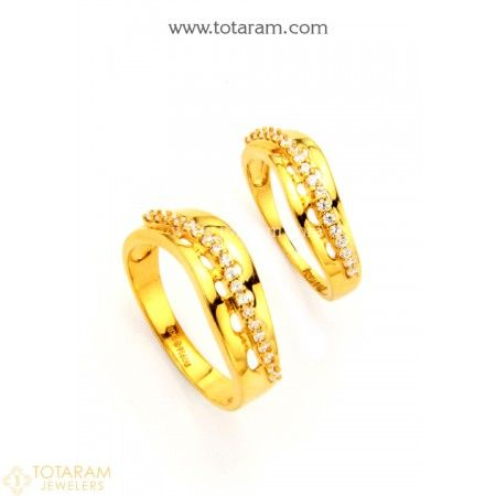 22K Gold Couple Wedding Bands With Cz