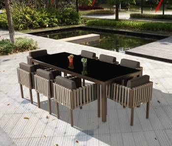 outdoor dining sets for 8. Outdoor Furniture Sets - Dining Amber Set For 8 With Side Straps