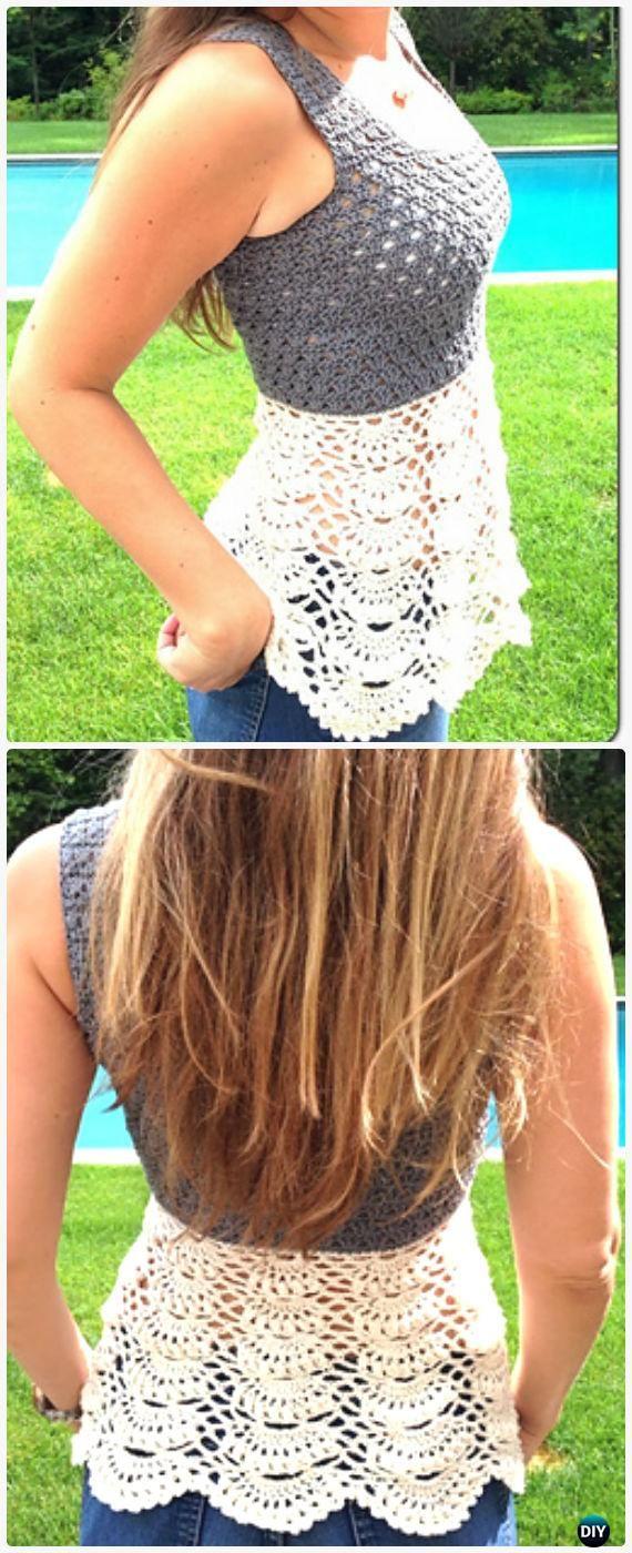 Crochet Women Pullover Sweater Free Patterns [Tops & Tunics] #crochetclothes