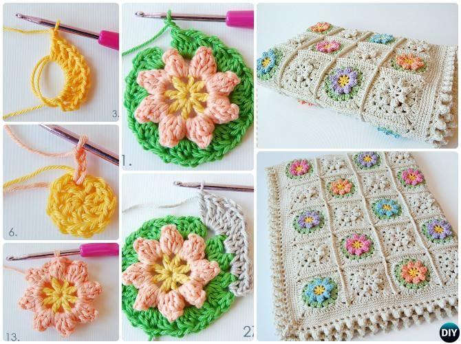 Crochet Primavera flor combinada Patrón gratuito | Flor | Pinterest ...