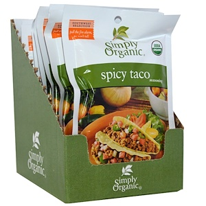 Simply Organic, Spicy Taco Seasoning, 12 Packets, 1.13 oz (32 g) Each #tacoseasoningpacket