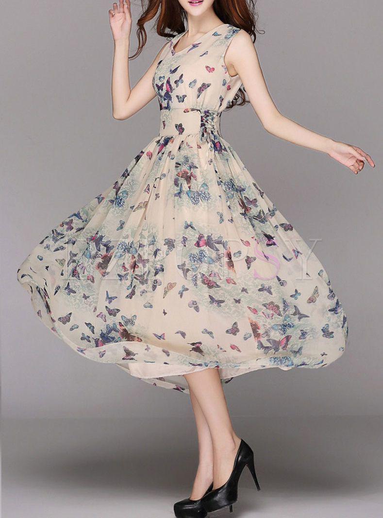 Summer Chiffon Floral Print A Line Maxi Dress Long Dress Outfits Long Summer Dresses Maxi Floral Print Dress Outfit [ 1066 x 789 Pixel ]