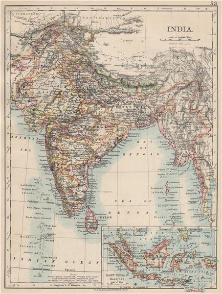 Antique map india inset map of east india is malaysia 1903 antique map india inset map of east india is malaysia 1903 by w ak johnston limited edinburgh london from the world wide atlas of modern gumiabroncs Choice Image
